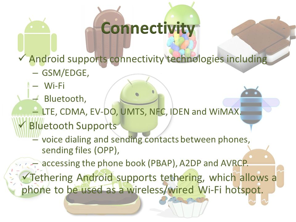 Android supports connectivity technologies including – GSM/EDGE, – Wi-Fi – Bluetooth, – LTE, CDMA, EV-DO, UMTS, NFC, IDEN and WiMAX.