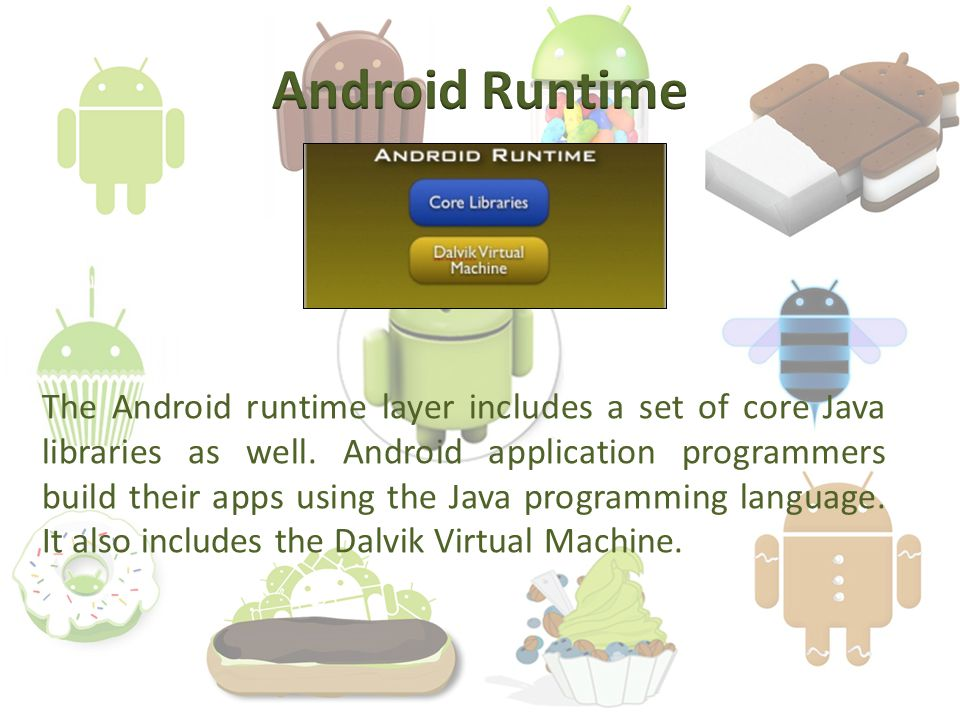The Android runtime layer includes a set of core Java libraries as well.