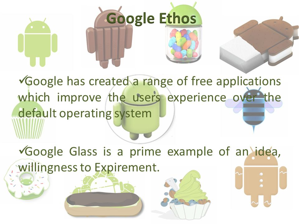 Google has created a range of free applications which improve the users experience over the default operating system Google Glass is a prime example of an idea, willingness to Expirement.