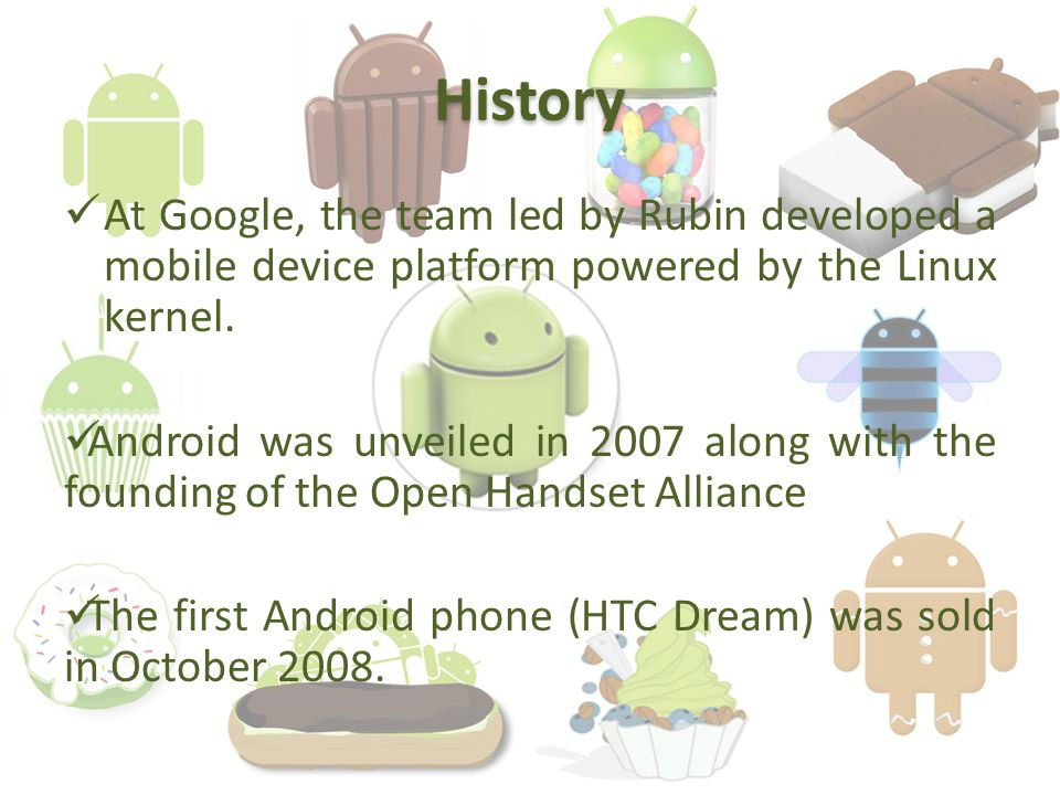 History At Google, the team led by Rubin developed a mobile device platform powered by the Linux kernel.