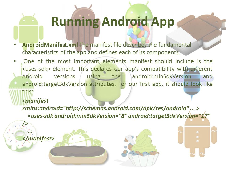 Running Android App AndroidManifest.xml The manifest file describes the fundamental characteristics of the app and defines each of its components.