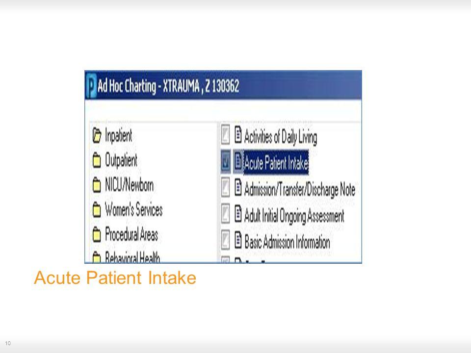 Acute Patient Intake 10