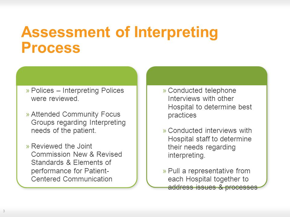 Assessment of Interpreting Process »Polices – Interpreting Polices were reviewed.