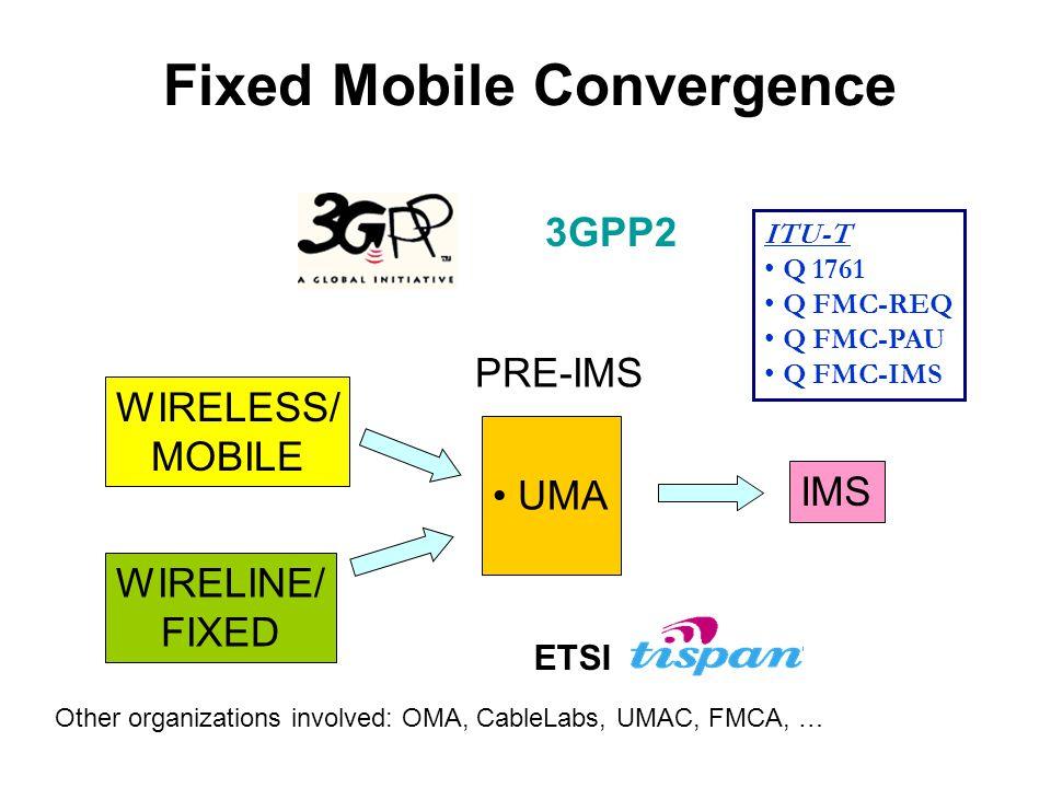 Fixed Mobile Convergence WIRELINE/ FIXED WIRELESS/ MOBILE PRE-IMS UMA IMS ITU-T Q 1761 Q FMC-REQ Q FMC-PAU Q FMC-IMS 3GPP2 ETSI Other organizations in