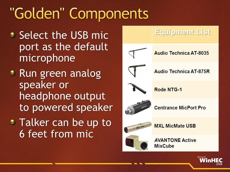 Equipment List Audio Technica AT-8035 Audio Technica AT-875R Rode NTG-1 Centrance MicPort Pro MXL MicMate USB AVANTONE Active MixCube
