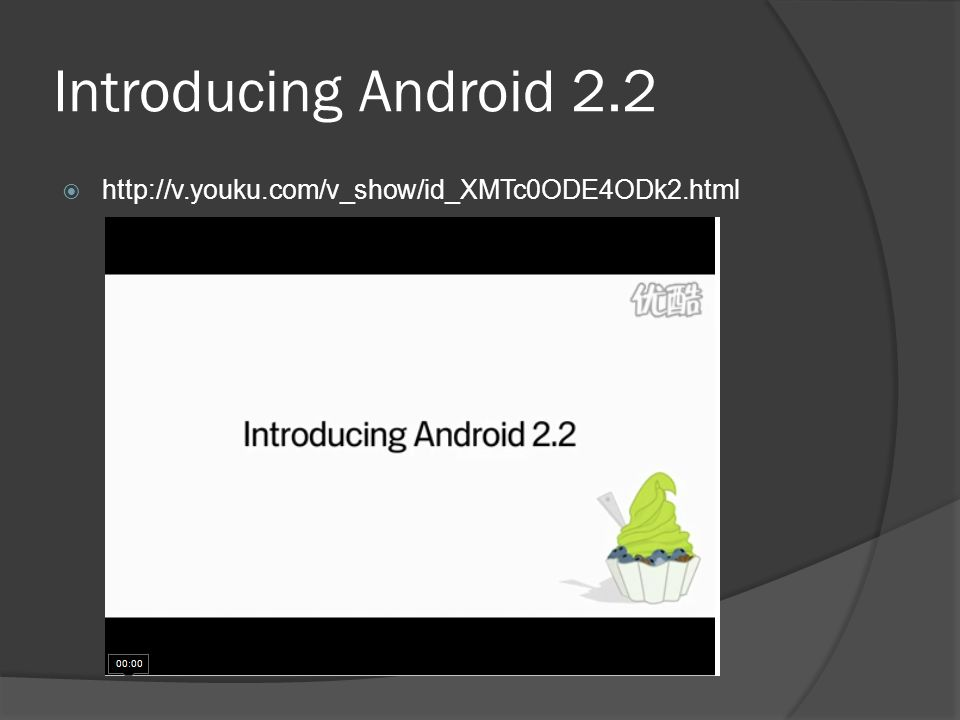 Introducing Android 2.2  http://v.youku.com/v_show/id_XMTc0ODE4ODk2.html