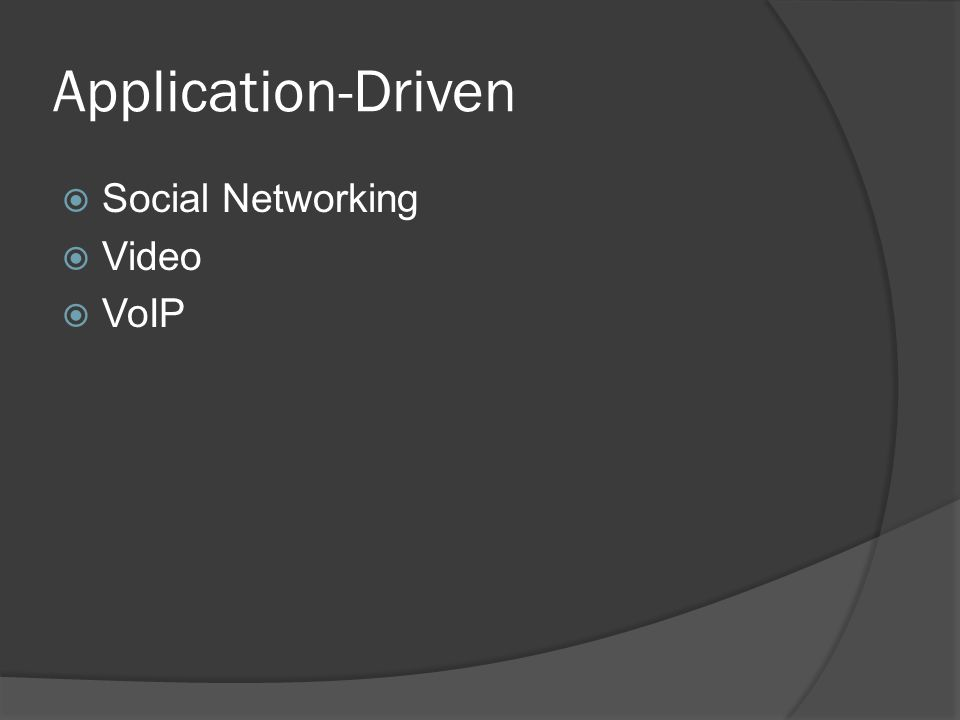 Application-Driven  Social Networking  Video  VoIP