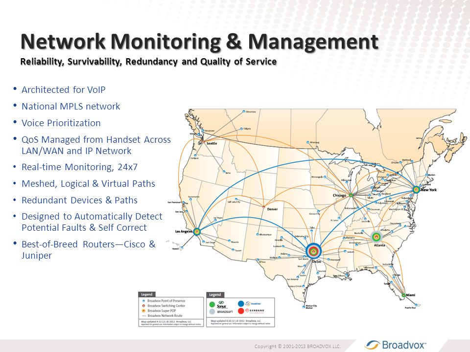 Network Monitoring & Management Reliability, Survivability, Redundancy and Quality of Service Architected for VoIP National MPLS network Voice Prioritization QoS Managed from Handset Across LAN/WAN and IP Network Real-time Monitoring, 24x7 Meshed, Logical & Virtual Paths Redundant Devices & Paths Designed to Automatically Detect Potential Faults & Self Correct Best-of-Breed Routers—Cisco & Juniper Copyright © 2001-2013 BROADVOX LLC.