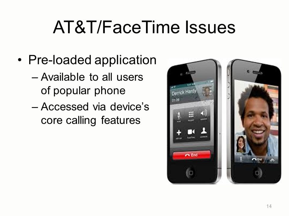 AT&T/FaceTime Issues Pre-loaded application –Available to all users of popular phone –Accessed via device's core calling features 14