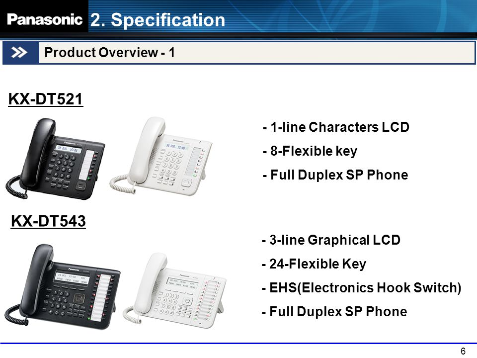 6 Product Overview - 1 KX-DT543 2.