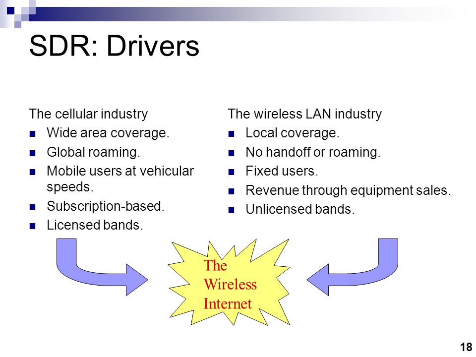 18 SDR: Drivers The cellular industry Wide area coverage.