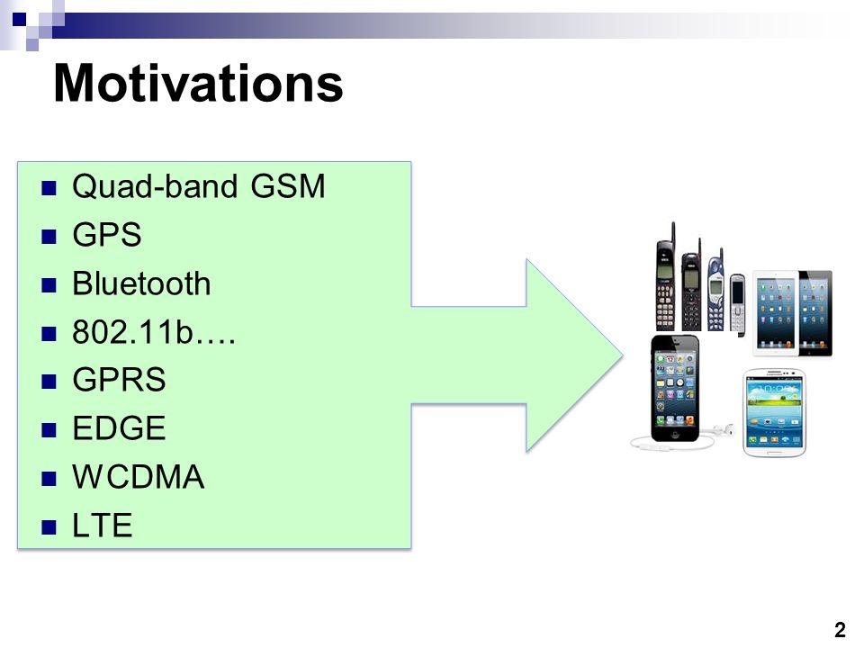2 Motivations Quad-band GSM GPS Bluetooth 802.11b…. GPRS EDGE WCDMA LTE