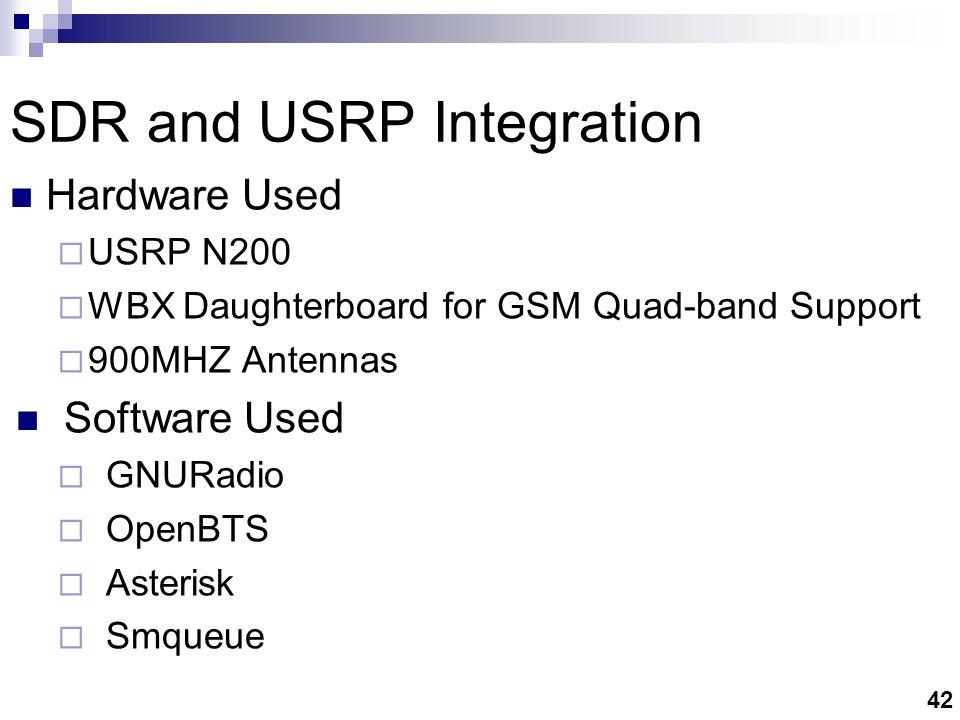 42 SDR and USRP Integration Hardware Used  USRP N200  WBX Daughterboard for GSM Quad-band Support  900MHZ Antennas Software Used  GNURadio  OpenBTS  Asterisk  Smqueue