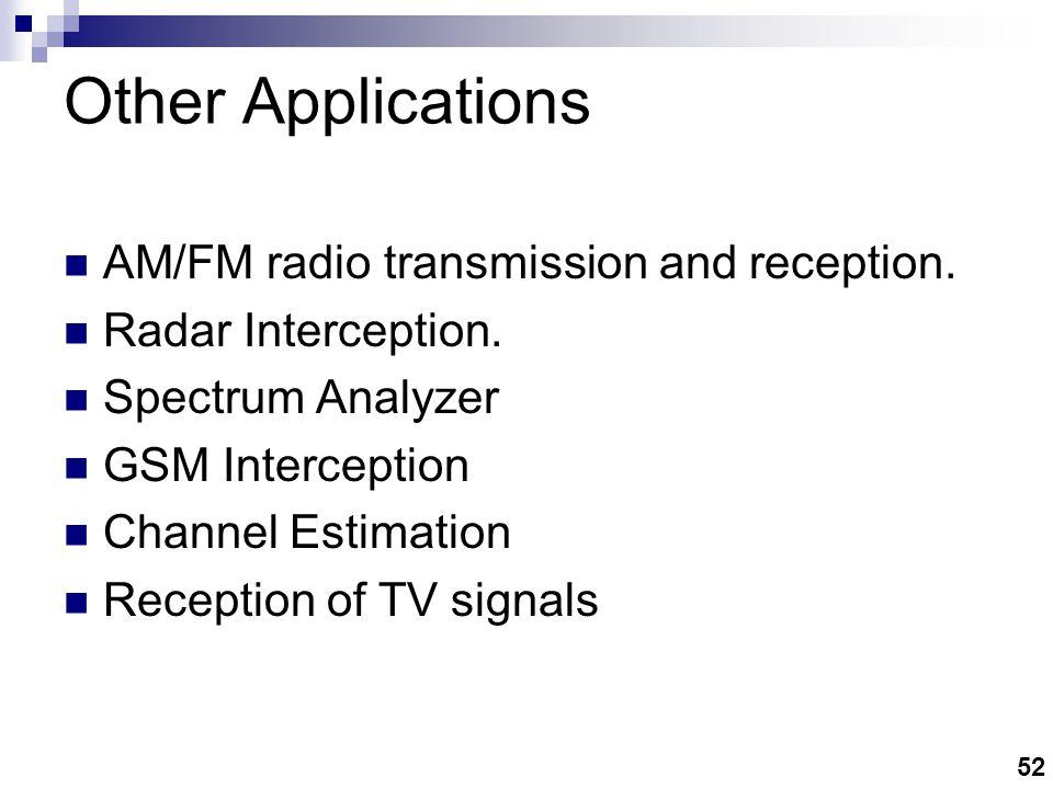52 AM/FM radio transmission and reception.Radar Interception.