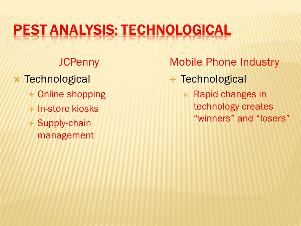 JCPenny  Technological  Online shopping  In-store kiosks  Supply-chain management Mobile Phone Industry  Technological  Rapid changes in technol