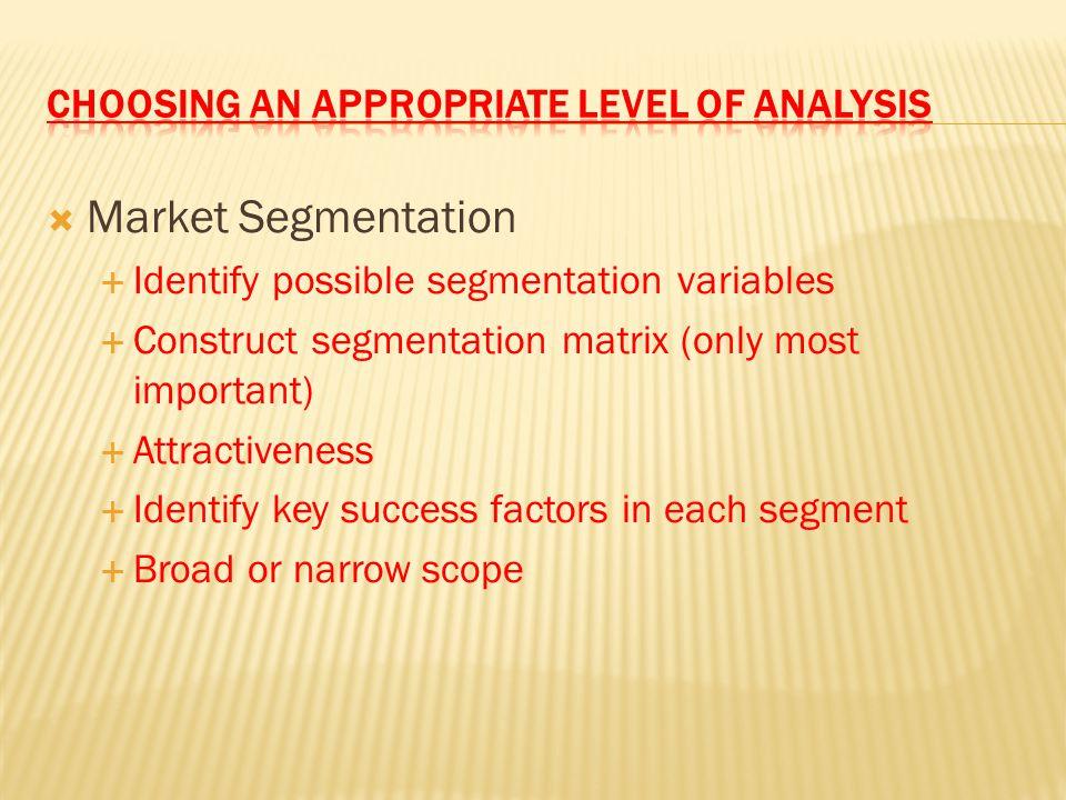  Market Segmentation  Identify possible segmentation variables  Construct segmentation matrix (only most important)  Attractiveness  Identify key
