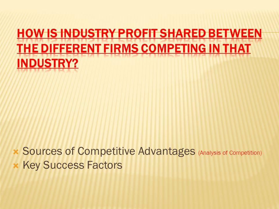  Sources of Competitive Advantages (Analysis of Competition)  Key Success Factors