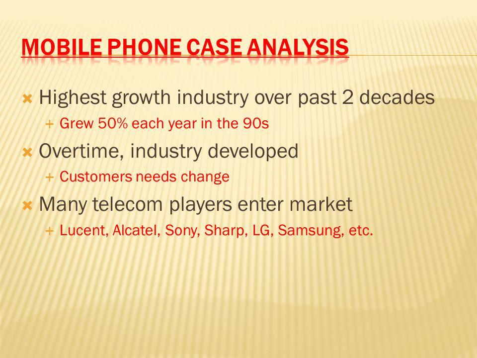  2007: Handset market shaken by smartphones  Apple's iPhone, Google's Android  Nokia, Motorola, Sony Ericsson, & Samsung  Lose half of market share  Phillips, Siemens, Mitsubishi, Sanyo  Depart from market
