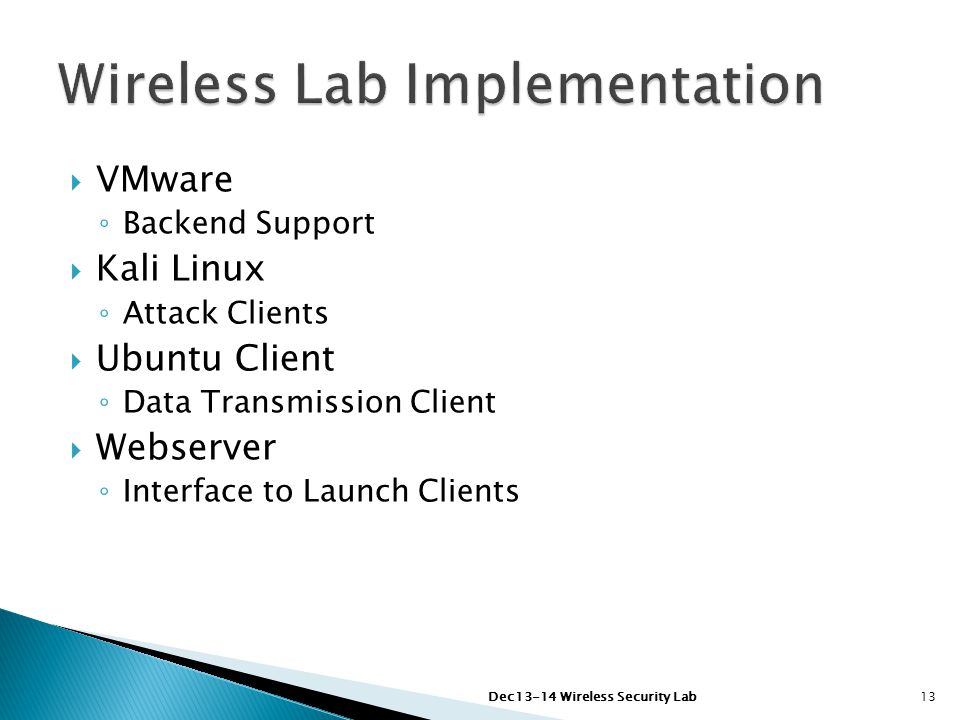  VMware ◦ Backend Support  Kali Linux ◦ Attack Clients  Ubuntu Client ◦ Data Transmission Client  Webserver ◦ Interface to Launch Clients Dec13-14 Wireless Security Lab13