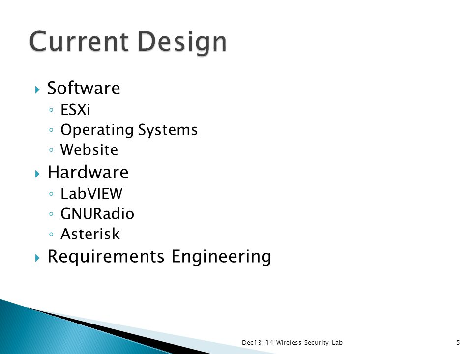  Software ◦ ESXi ◦ Operating Systems ◦ Website  Hardware ◦ LabVIEW ◦ GNURadio ◦ Asterisk  Requirements Engineering Dec13-14 Wireless Security Lab5