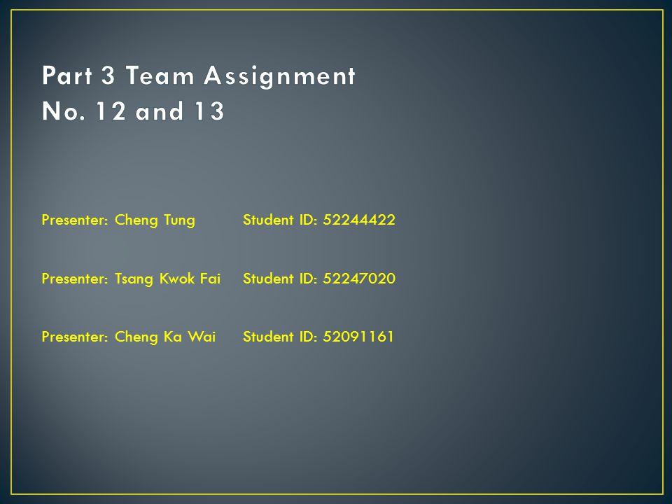 Presenter: Cheng Tung Student ID: 52244422 Presenter: Tsang Kwok Fai Student ID: 52247020 Presenter: Cheng Ka WaiStudent ID: 52091161
