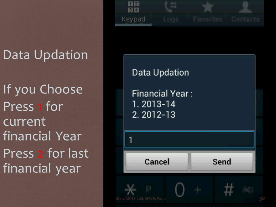 IF SUSCRIBED THEN Data Updation If you Choose Press 1 for current financial Year Press 2 for last financial year State MCTS Cell, SFWB, Pune 30
