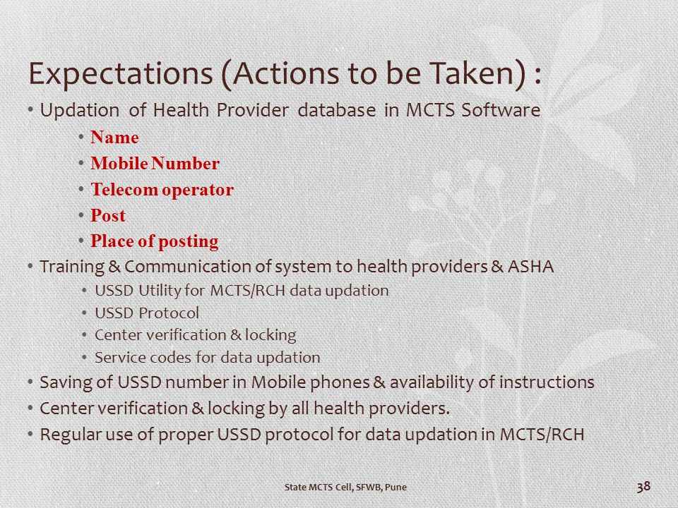 Expectations (Actions to be Taken) : Updation of Health Provider database in MCTS Software Name Mobile Number Telecom operator Post Place of posting T