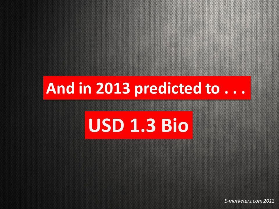 And in 2013 predicted to... E-marketers.com 2012 USD 1.3 Bio