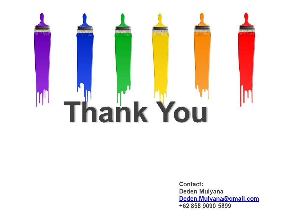 Thank You Contact: Deden Mulyana Deden.Mulyana@gmail.com +62 858 9090 5899