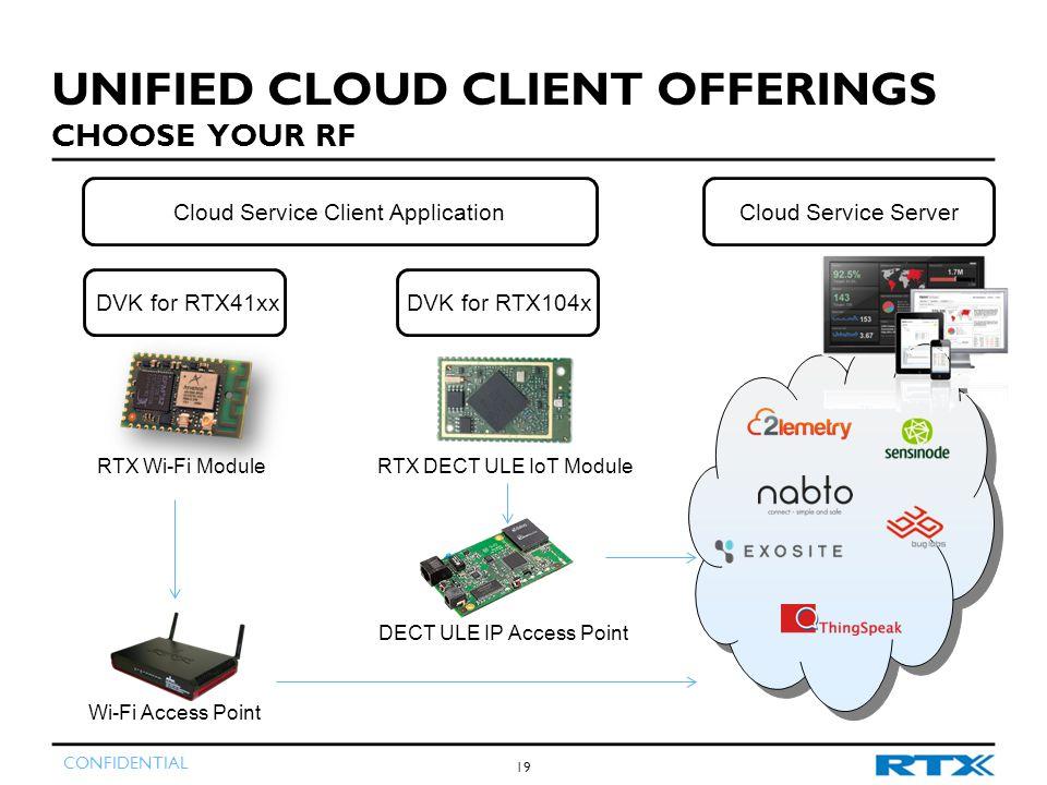 CONFIDENTIAL 19 UNIFIED CLOUD CLIENT OFFERINGS CHOOSE YOUR RF Cloud Service Client Application RTX Wi-Fi ModuleRTX DECT ULE IoT Module DVK for RTX41xxDVK for RTX104x Wi-Fi Access Point DECT ULE IP Access Point Cloud Service Server