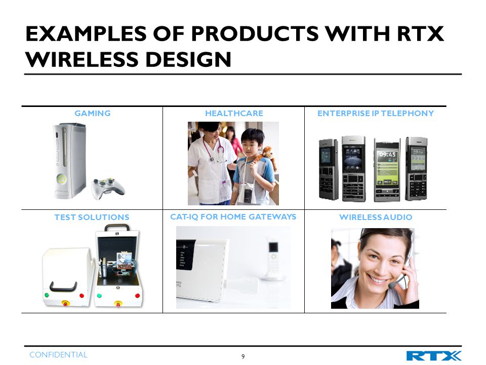 CONFIDENTIAL GAMINGHEALTHCAREENTERPRISE IP TELEPHONY TEST SOLUTIONSWIRELESS AUDIO CAT-IQ FOR HOME GATEWAYS EXAMPLES OF PRODUCTS WITH RTX WIRELESS DESIGN 9