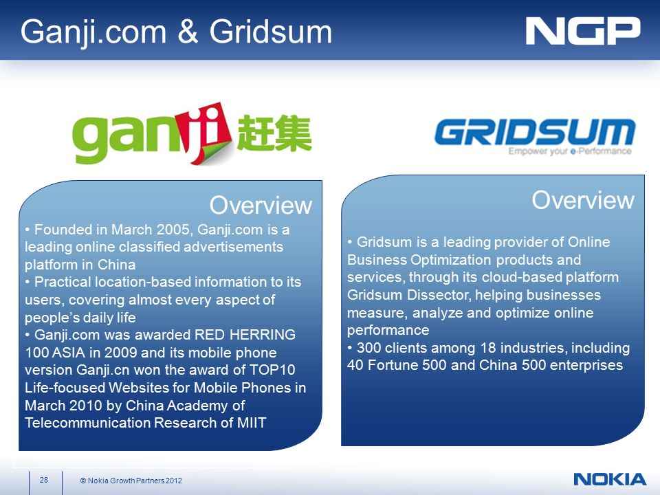 28 © Nokia Growth Partners 2012 Overview Founded in March 2005, Ganji.com is a leading online classified advertisements platform in China Practical location-based information to its users, covering almost every aspect of people's daily life Ganji.com was awarded RED HERRING 100 ASIA in 2009 and its mobile phone version Ganji.cn won the award of TOP10 Life-focused Websites for Mobile Phones in March 2010 by China Academy of Telecommunication Research of MIIT Ganji.com & Gridsum Overview Gridsum is a leading provider of Online Business Optimization products and services, through its cloud-based platform Gridsum Dissector, helping businesses measure, analyze and optimize online performance 300 clients among 18 industries, including 40 Fortune 500 and China 500 enterprises