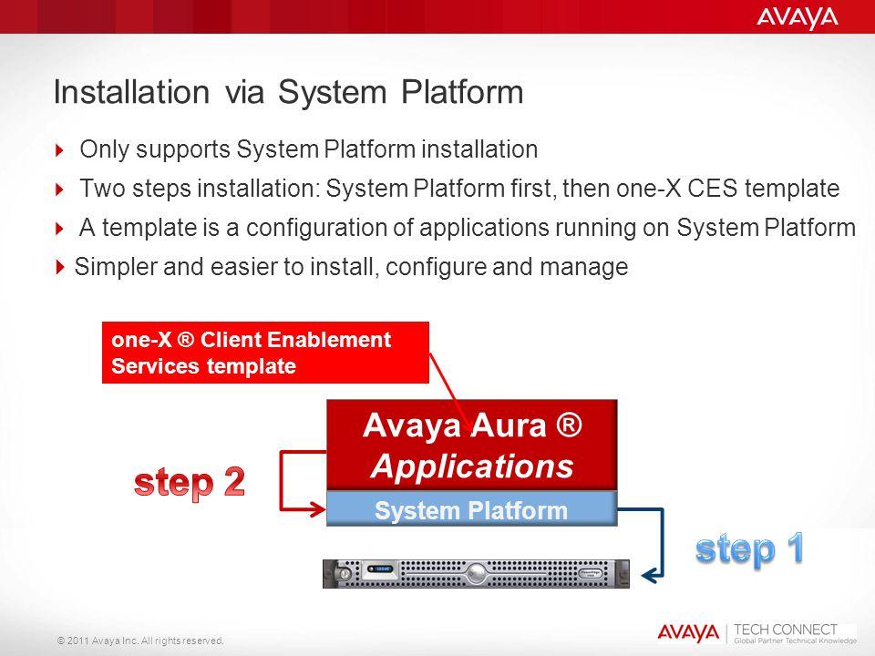 © 2011 Avaya Inc. All rights reserved. 20 Installation via System Platform  Only supports System Platform installation  Two steps installation: Syst