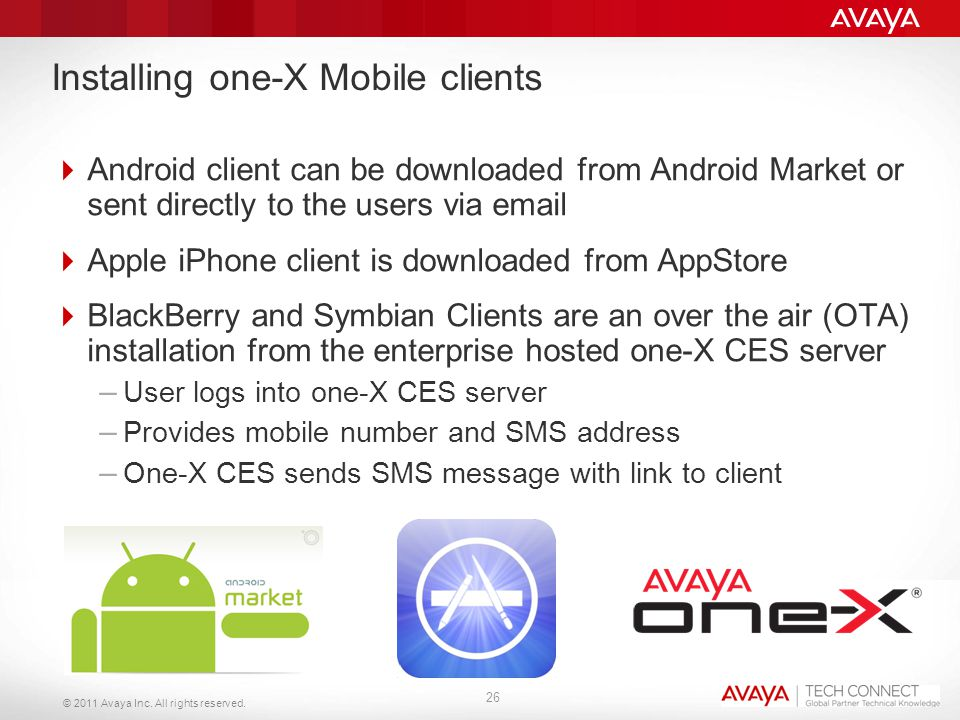 © 2011 Avaya Inc. All rights reserved. Installing one-X Mobile clients  Android client can be downloaded from Android Market or sent directly to the
