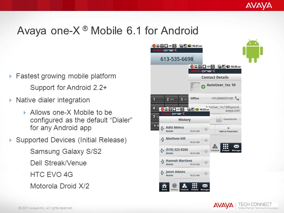 © 2011 Avaya Inc. All rights reserved. Avaya one-X ® Mobile 6.1 for Android  Fastest growing mobile platform – Support for Android 2.2+  Native dial
