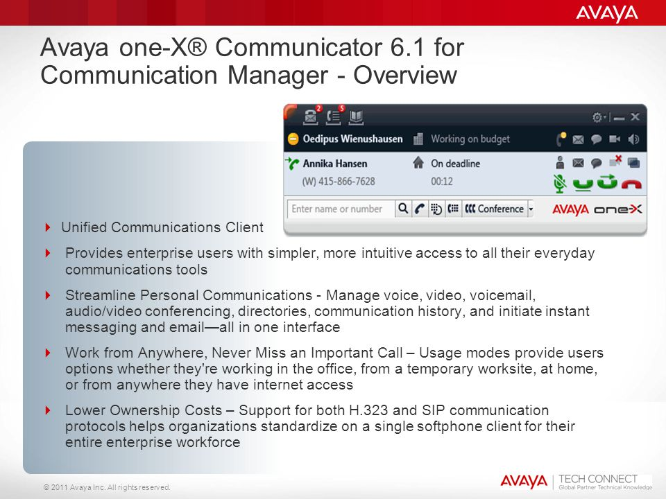 © 2011 Avaya Inc. All rights reserved. Avaya one-X® Communicator 6.1 for Communication Manager - Overview  Unified Communications Client  Provides e