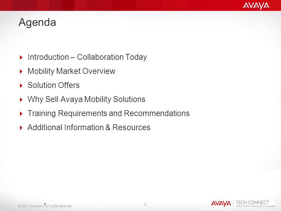 © 2011 Avaya Inc. All rights reserved. Agenda  Introduction – Collaboration Today  Mobility Market Overview  Solution Offers  Why Sell Avaya Mobil