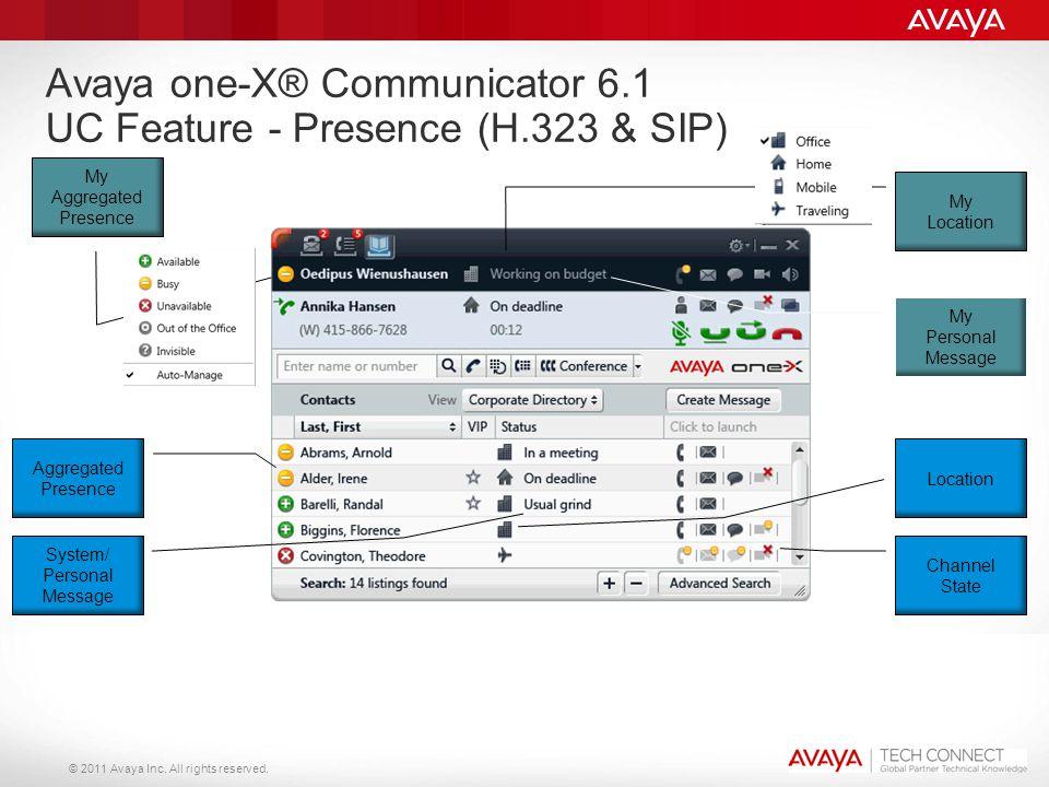 © 2011 Avaya Inc. All rights reserved. My Aggregated Presence Avaya one-X® Communicator 6.1 UC Feature - Presence (H.323 & SIP) Aggregated Presence Lo