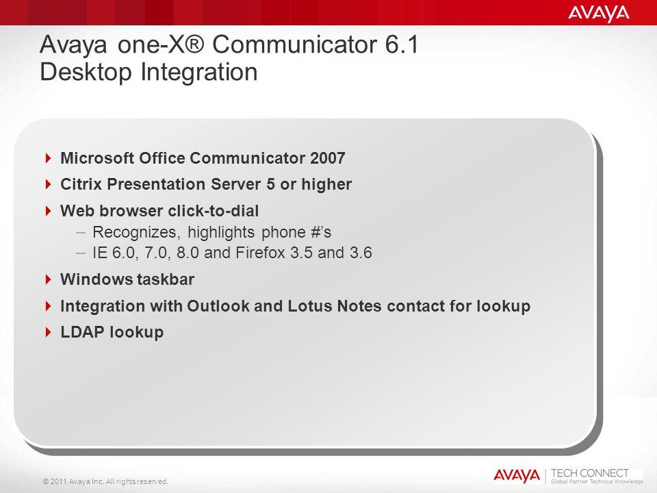 © 2011 Avaya Inc. All rights reserved. Avaya one-X® Communicator 6.1 Desktop Integration  Microsoft Office Communicator 2007  Citrix Presentation Se