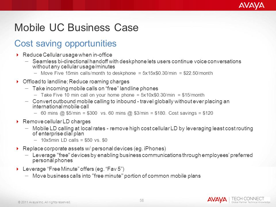 © 2011 Avaya Inc. All rights reserved. Mobile UC Business Case  Reduce Cellular usage when in-office – Seamless bi-directional handoff with deskphone