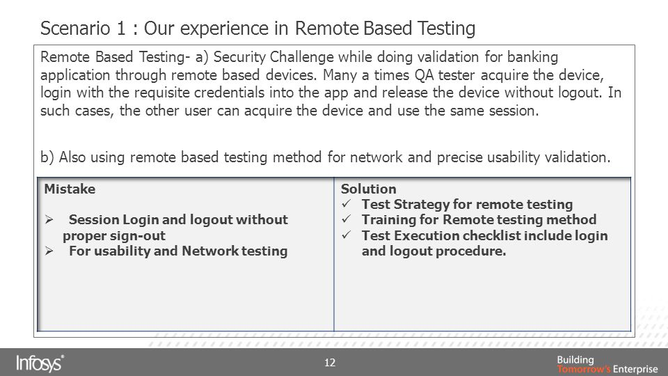 Scenario 1 : Our experience in Remote Based Testing 12 Remote Based Testing- a) Security Challenge while doing validation for banking application thro