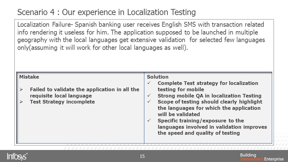 Scenario 4 : Our experience in Localization Testing 15 Localization Failure- Spanish banking user receives English SMS with transaction related info rendering it useless for him.