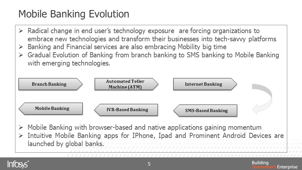 Mobile Banking Evolution  Radical change in end user's technology exposure are forcing organizations to embrace new technologies and transform their businesses into tech-savvy platforms  Banking and Financial services are also embracing Mobility big time  Gradual Evolution of Banking from branch banking to SMS banking to Mobile Banking with emerging technologies.