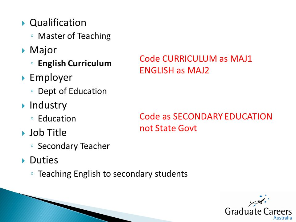  Qualification ◦ Master of Teaching  Major ◦ English Curriculum  Employer ◦ Dept of Education  Industry ◦ Education  Job Title ◦ Secondary Teacher  Duties ◦ Teaching English to secondary students Code CURRICULUM as MAJ1 ENGLISH as MAJ2 Code as SECONDARY EDUCATION not State Govt