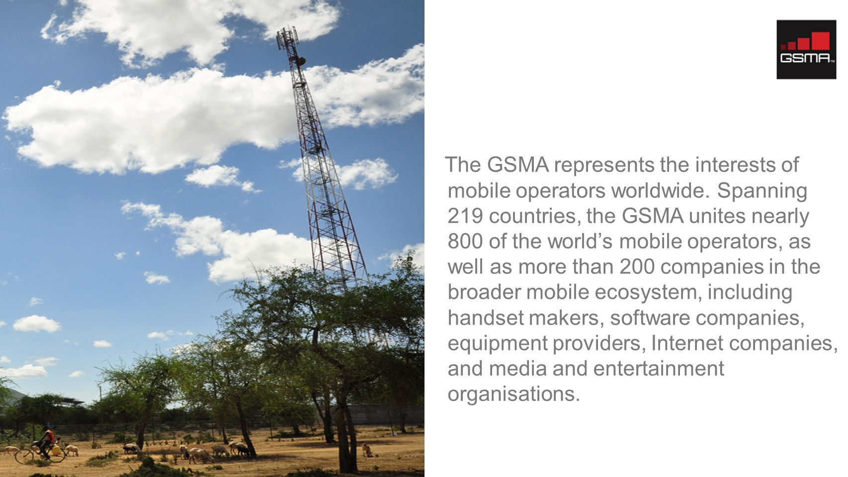 The GSMA represents the interests of mobile operators worldwide.