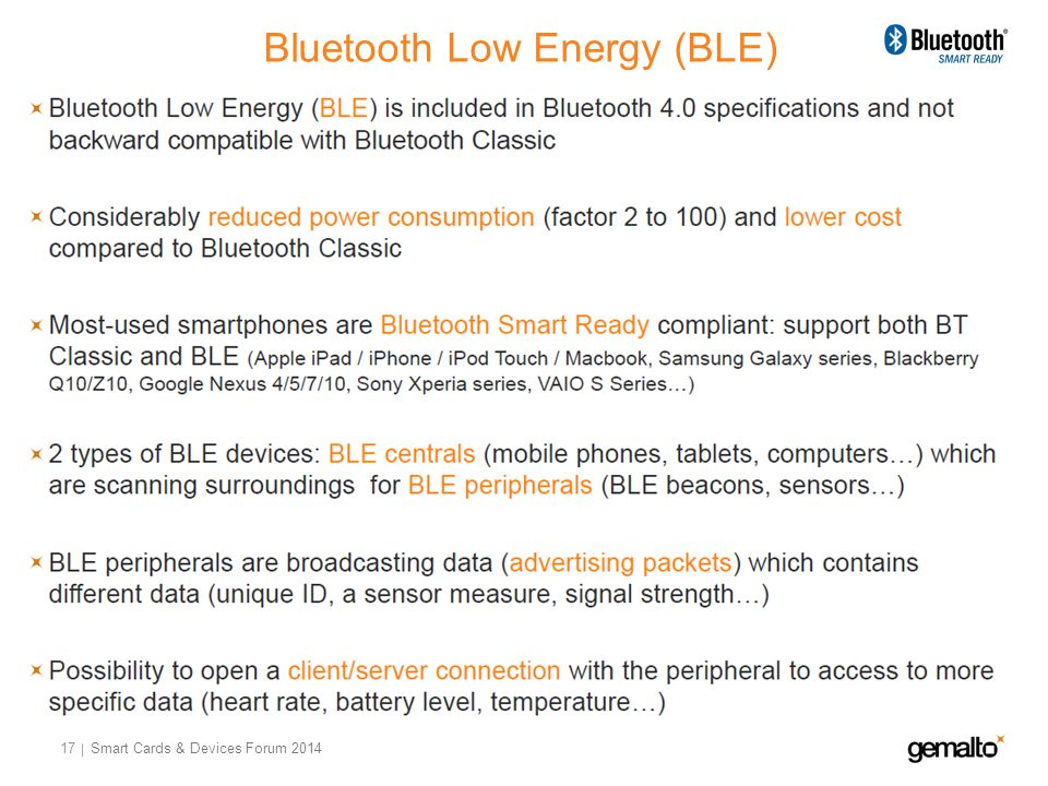 Bluetooth Low Energy (BLE) 17 Smart Cards & Devices Forum 2014
