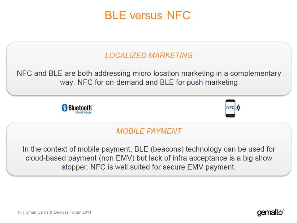 BLE versus NFC 19 Smart Cards & Devices Forum 2014