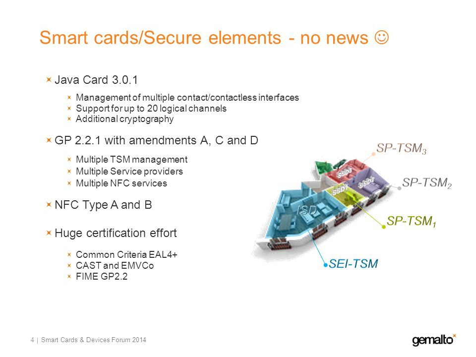 Smart cards/Secure elements - no news 4 Java Card 3.0.1 Management of multiple contact/contactless interfaces Support for up to 20 logical channels Ad