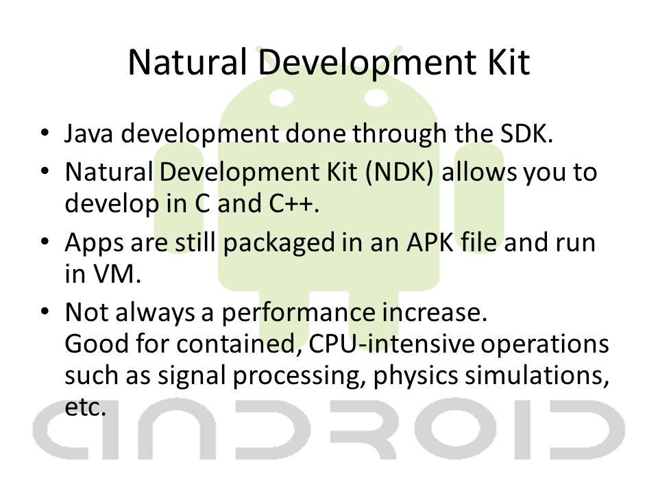 Natural Development Kit Java development done through the SDK.