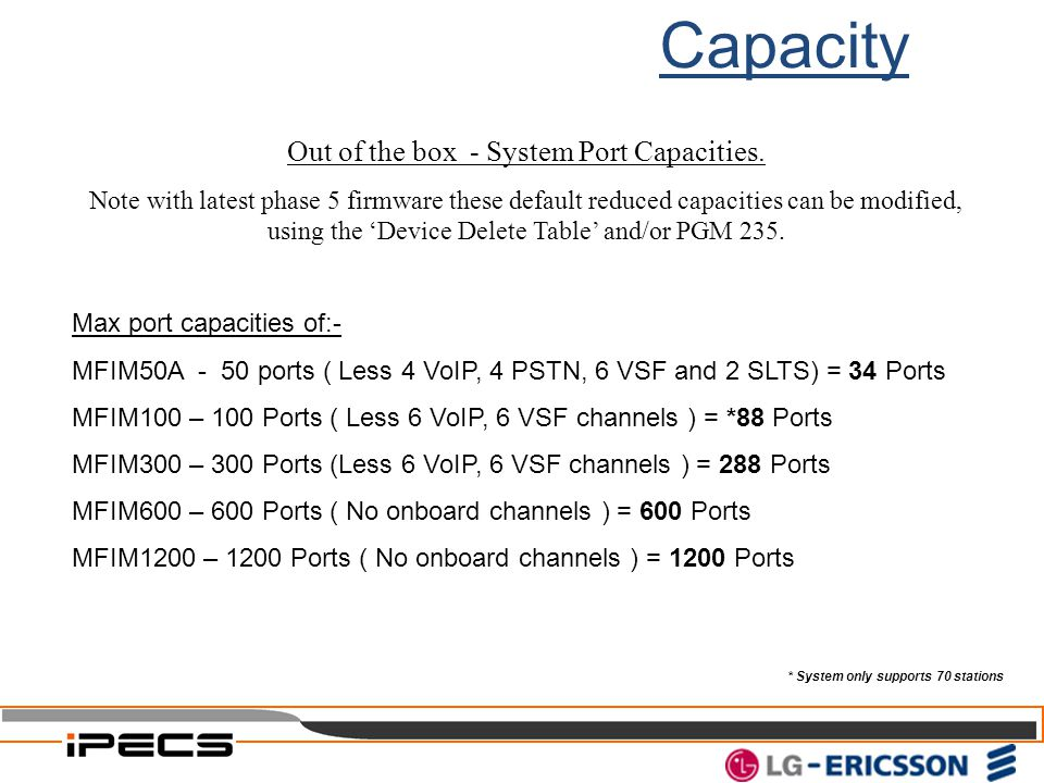 Capacity Out of the box - System Port Capacities. Note with latest phase 5 firmware these default reduced capacities can be modified, using the 'Devic